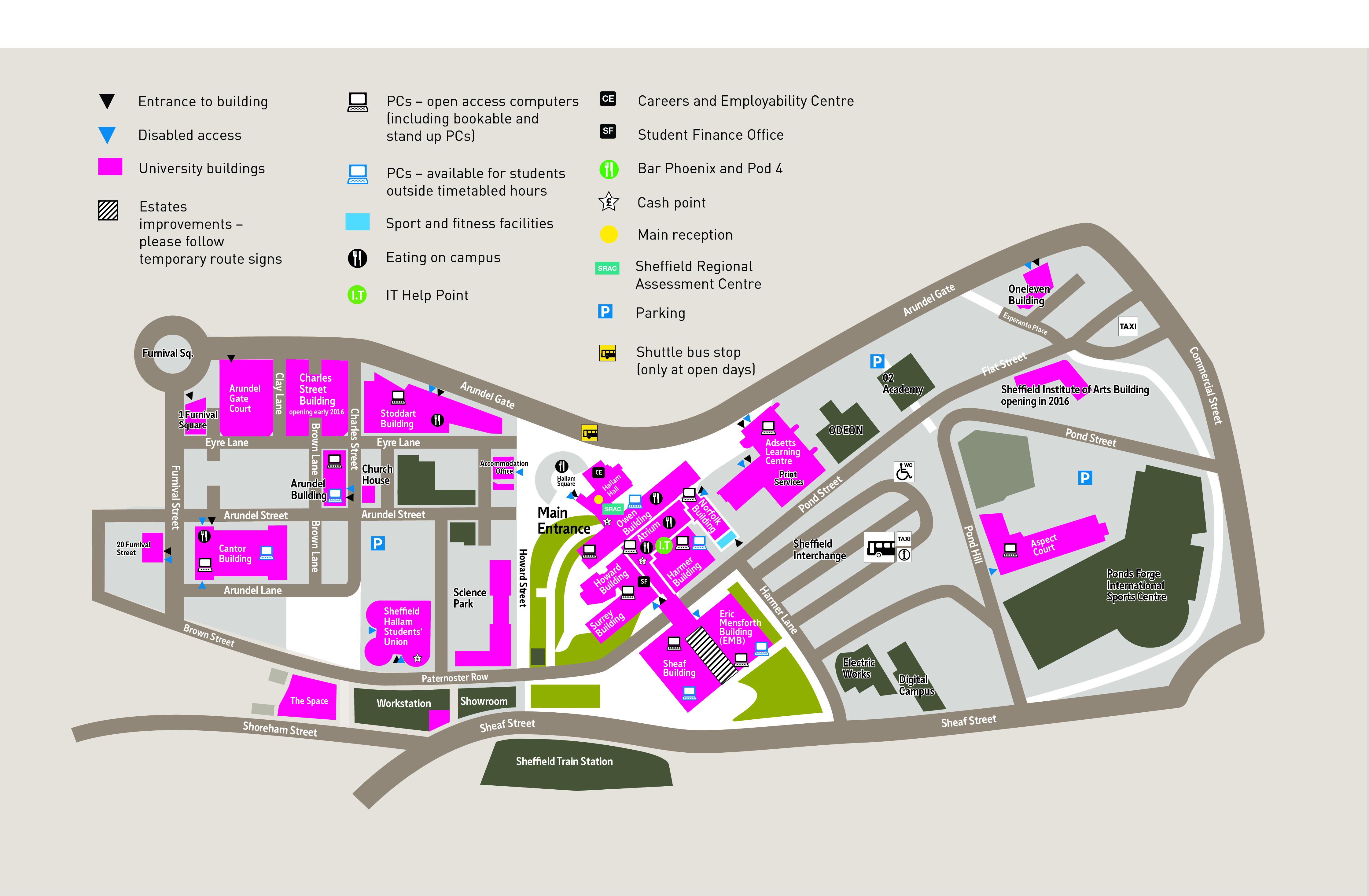 sheffield hallam university collegiate campus map Pc Location Maps By Campus Sheffield Hallam University sheffield hallam university collegiate campus map